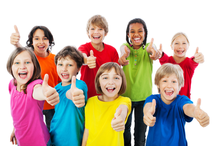 Group of kids with thumbs up.